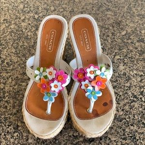 Coach wedge sandals with flowers sz 6.5